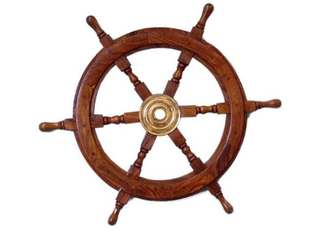 Deluxe Class Wood and Brass Decorative Ship Wheel 24