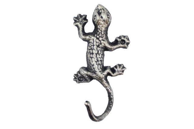 Rustic Silver Cast Iron Lizard Hook 6