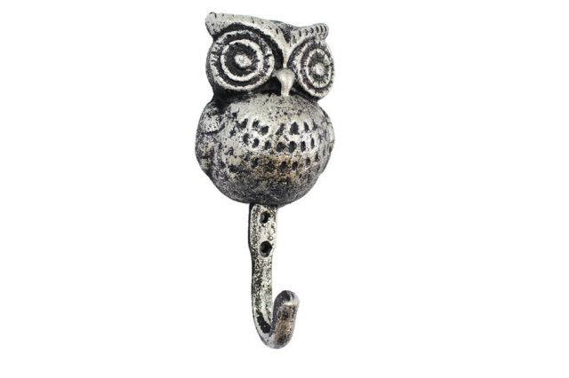 Rustic Silver Cast Iron Owl Wall Hook 6