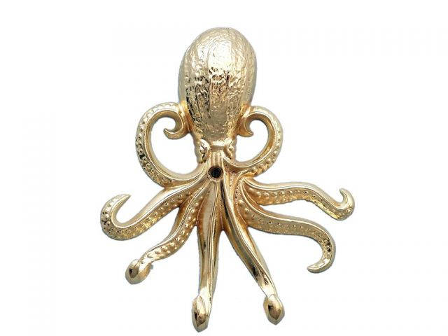 Gold Finish Wall Mounted Octopus Hooks 7