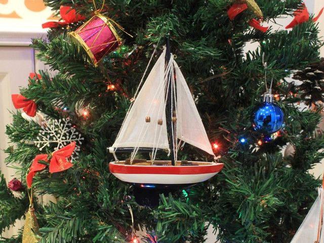 Wooden USA Sailboat Model Christmas Tree Ornament 9