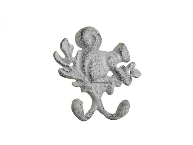 Whitewashed Cast Iron Squirrel with Acorn Decorative Double Metal Wall Hooks 8
