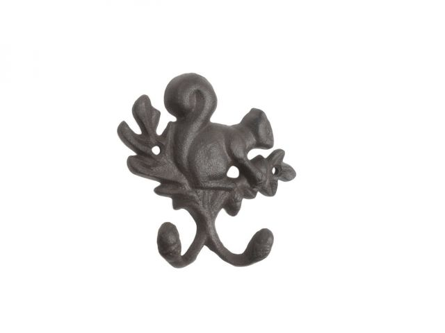 Cast Iron Squirrel with Acorn Decorative Double Metal Wall Hooks 8