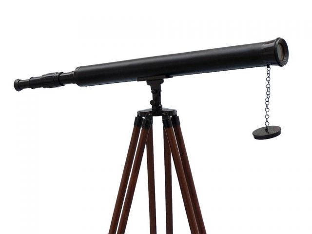 Floor Standing Oil Rubbed Bronze-Leather Harbor Master Telescope 60