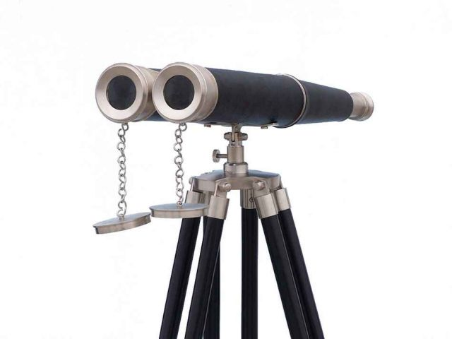 Floor Standing Admirals Brushed Nickel with Leather Binoculars 62