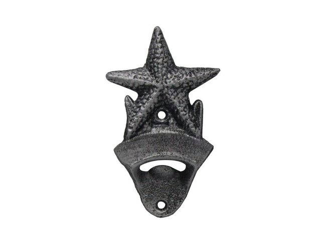 Rustic Silver Cast Iron Wall Mounted Starfish Bottle Opener 6