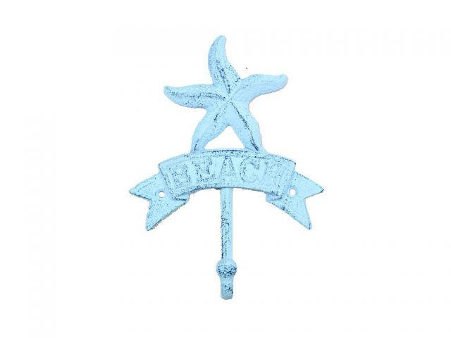 Rustic Dark Blue Whitewashed Cast Iron Starfish Beach Hook 8