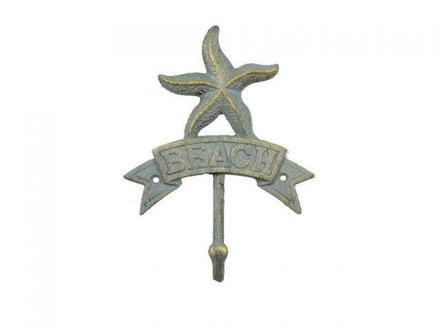 Antique Seaworn Bronze Cast Iron Starfish Beach Hook 8