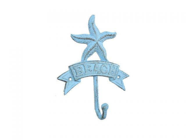 Rustic Light Blue Cast Iron Starfish Beach Hook 8