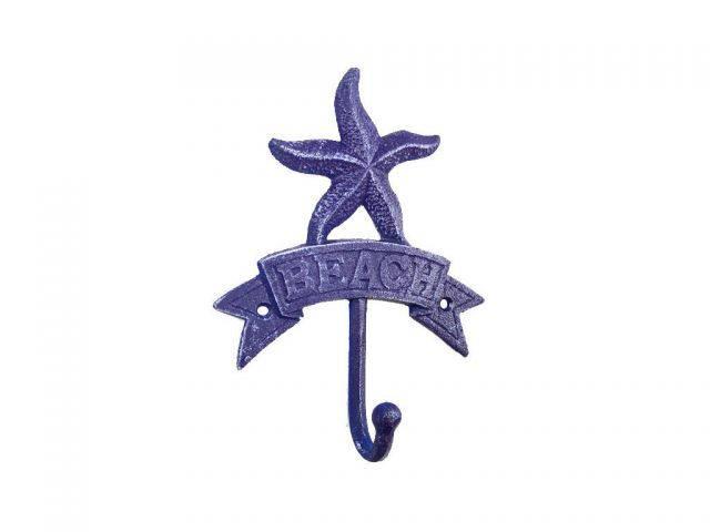 Rustic Dark Blue Cast Iron Starfish Beach Hook 8