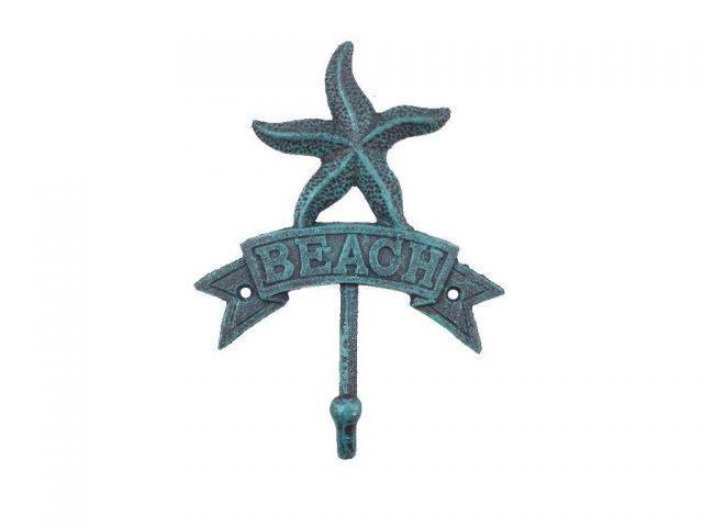 Seaworn Blue Cast Iron Starfish Beach Hook 8