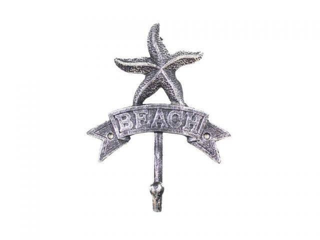 Rustic Silver Cast Iron Starfish Beach Hook 8