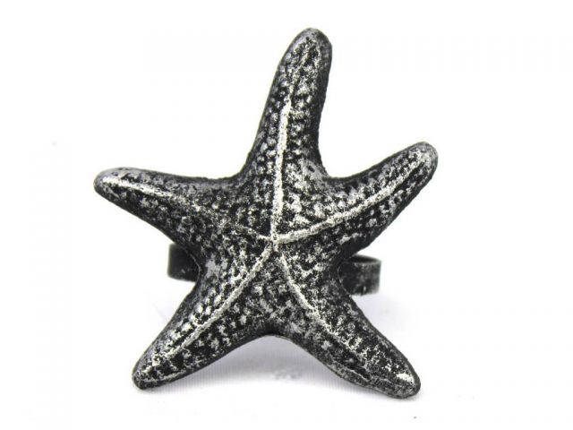 Antique Silver Cast Iron Starfish Napkin Ring 3 - set of 2