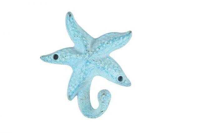 Light Blue Whitewashed Cast Iron Starfish Hook 4