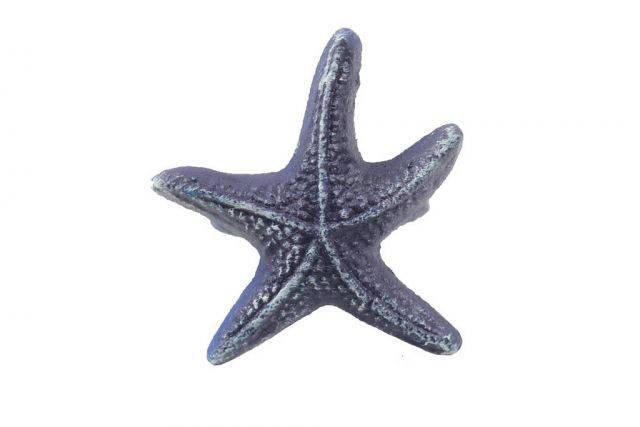 Rustic Dark Blue Cast Iron Starfish Napkin Ring 3 - set of 2