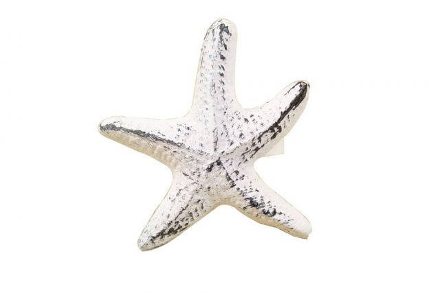 Rustic Whitewashed Cast Iron Starfish Napkin Ring 3 - set of 2