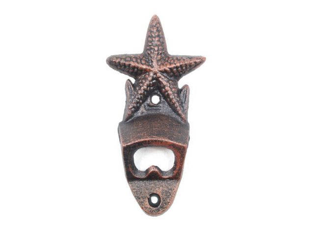 Rustic Copper Cast Iron Wall Mounted Starfish Bottle Opener 6