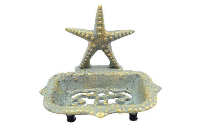 Antique Seaworn Bronze Cast Iron Starfish Soap Dish 6