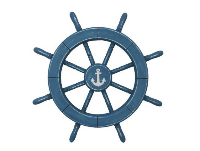 Rustic All Light Blue Decorative Ship Wheel With Anchor 18