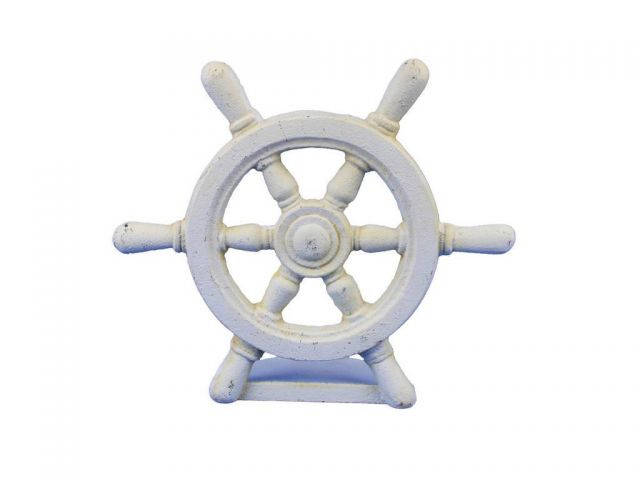 Antique White Cast Iron Ship Wheel Door Stopper 9