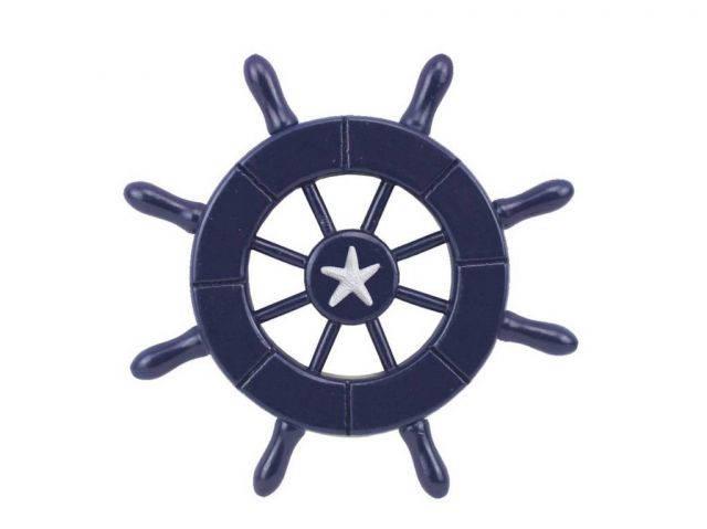 Dark Blue Decorative Ship Wheel With Starfish 6