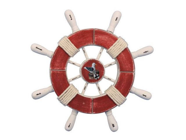 Rustic Red and White Decorative Ship Wheel With Seagull 9