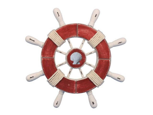 Rustic Red and White Decorative Ship Wheel With Seashell 9