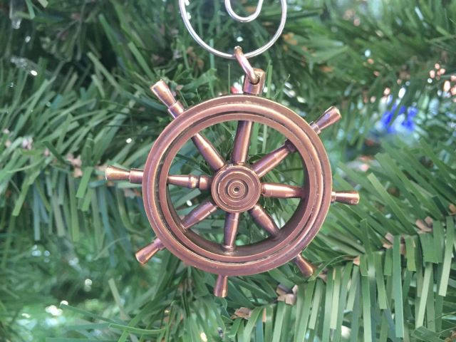 Antique Copper Ship Wheel Christmas Ornament 5