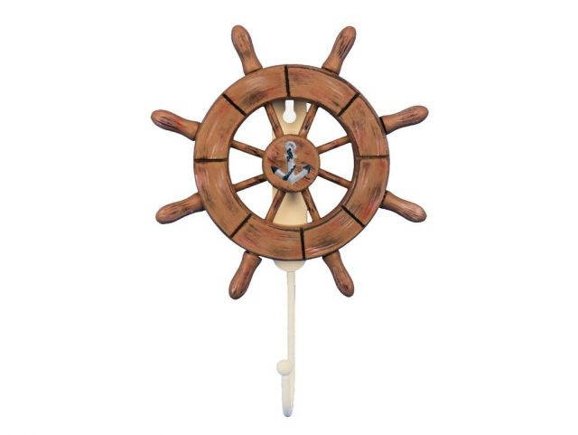 Rustic Wood Finish Decorative Ship Wheel with Anchor and Hook 8