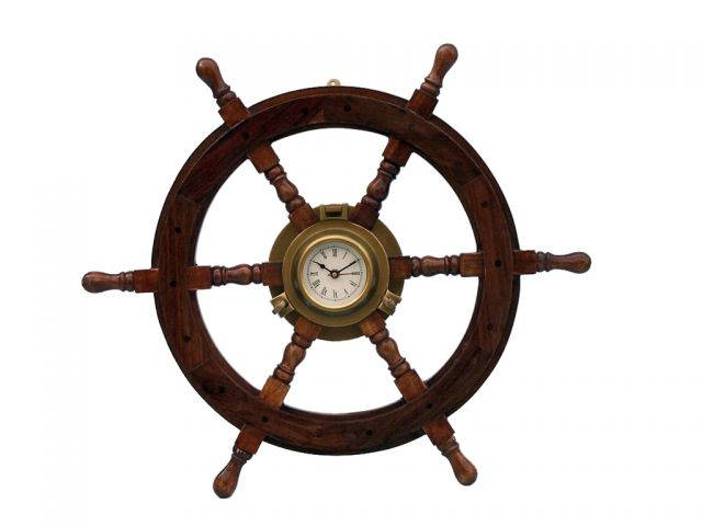 Deluxe Class Wood and Antique Brass Ship Stering Wheel Clock 24
