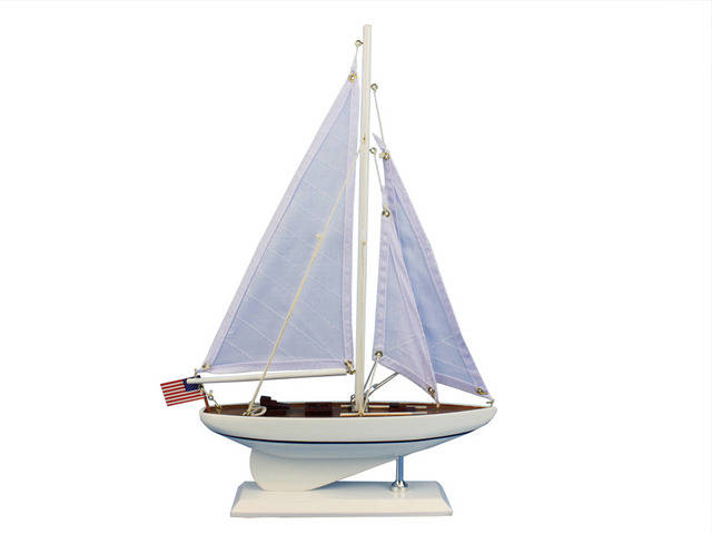 Wooden Intrepid Model Sailboat Decoration 16