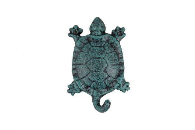 Seaworn Blue Cast Iron Turtle Key Hook 6