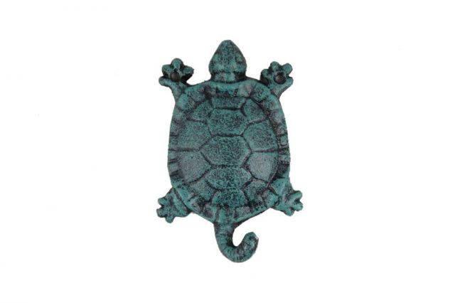 Seaworn Blue Cast Iron Turtle Key Hook 6