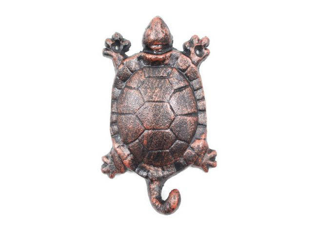 Rustic Copper Cast Iron Turtle Key Hook 6