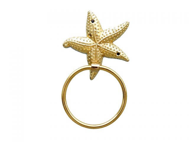 Gold Finish Starfish Towel Holder 9