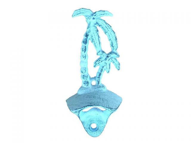 Rustic Dark Blue Whitewashed Cast Iron Wall Mounted Palmtree Bottle Opener 6