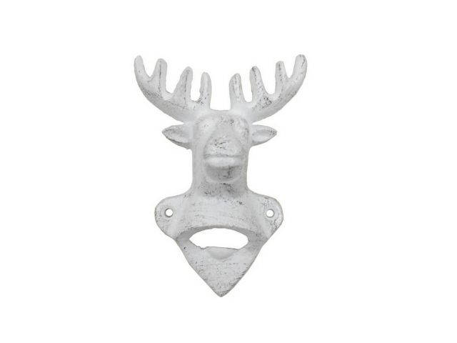 Whitewashed Cast Iron Deer Bottle Opener 6