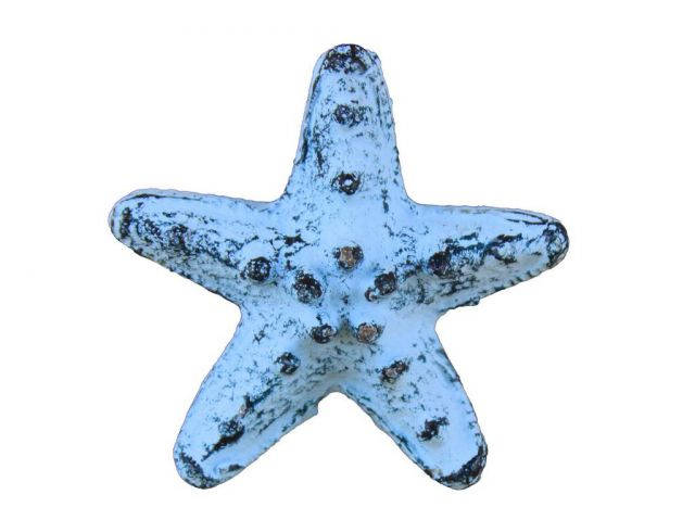 Rustic Dark Blue Whitewashed Cast Iron Starfish Bottle Opener 3