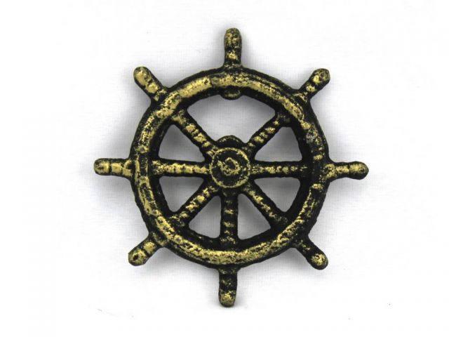 Antique Gold Cast Iron Ship Wheel Bottle Opener 3.75