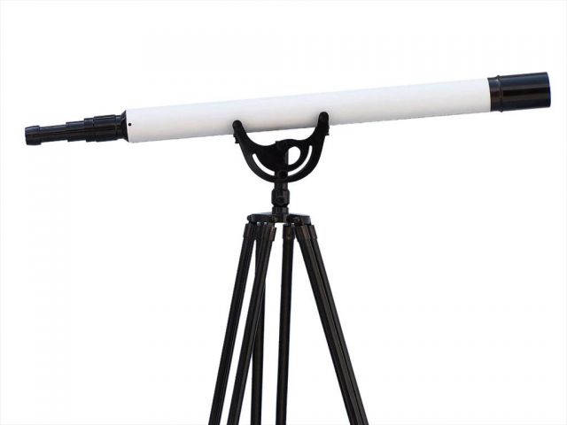 Floor Standing Oil-Rubbed Bronzed-White Leather with Black Stand Anchormaster Telescope 65
