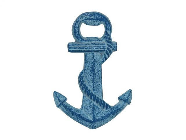 Rustic Light Blue Whitewashed Cast Iron Anchor Bottle Opener 5