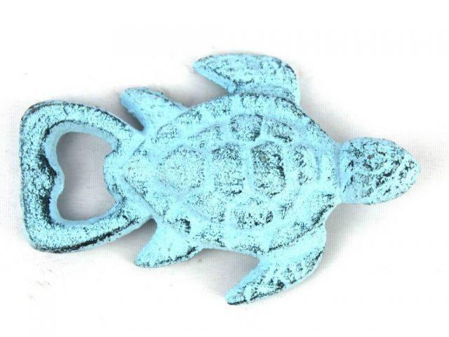 Dark Blue Whitewashed Cast Iron Turtle Bottle Opener 4.5
