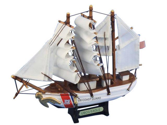 Wooden United States Coast Guard USCG Eagle Model Ship 7