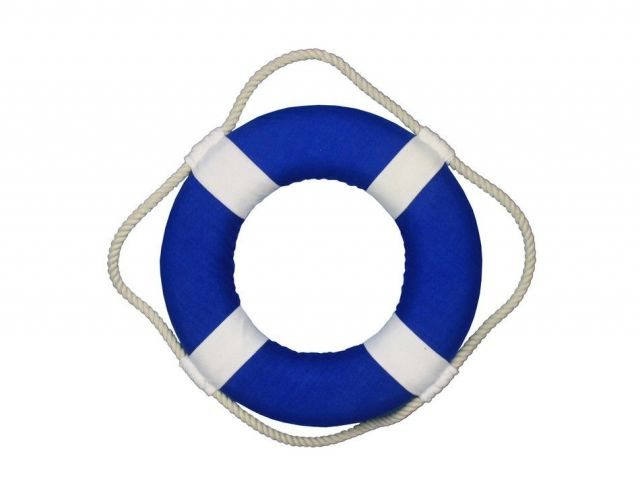 Vibrant Blue Decorative Lifering with White Bands Christmas Ornament 10