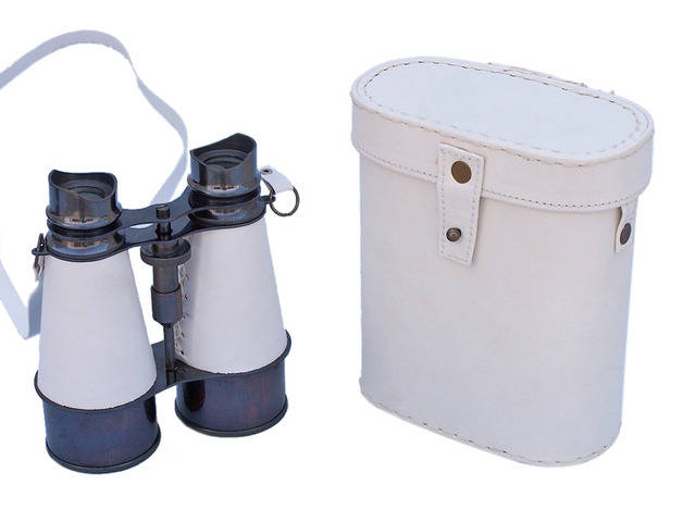 Captains Oil-Rubbed Bronze-White Leather Binoculars with Leather Case 6