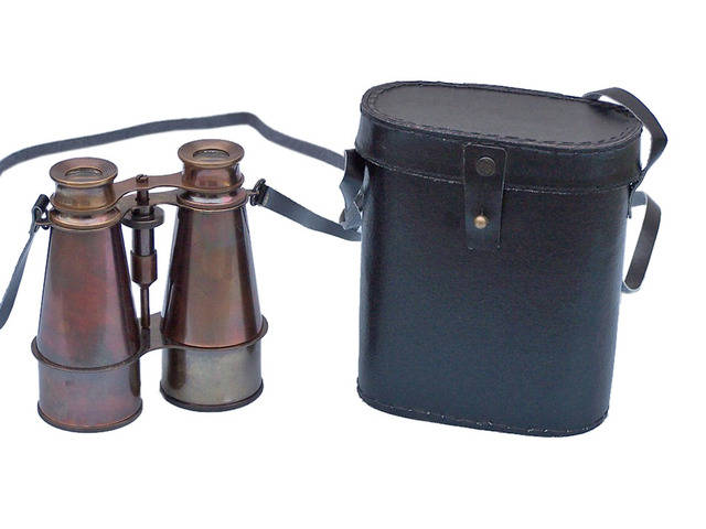 Captains Antique Brass Binoculars with Leather Case 6