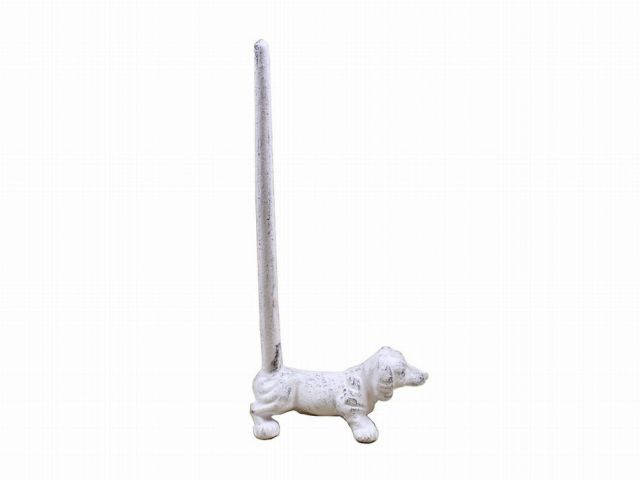 Whitewashed Cast Iron Dog Extra Toilet Paper Stand 12