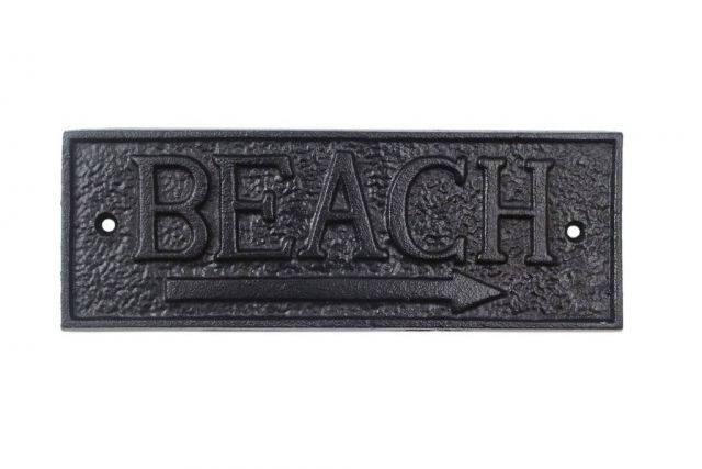 Rustic Black Cast Iron Beach Sign 9