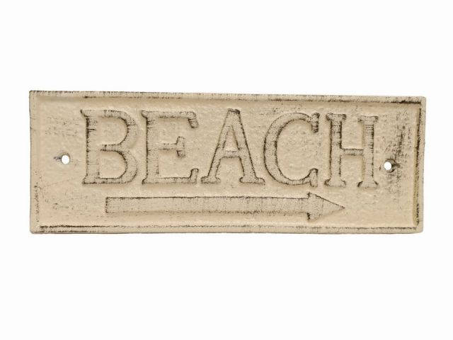 Aged White Cast Iron Beach Sign 9