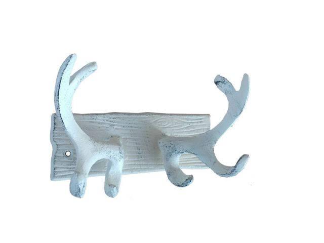 Whitewashed Cast Iron Antler Double Hook 8